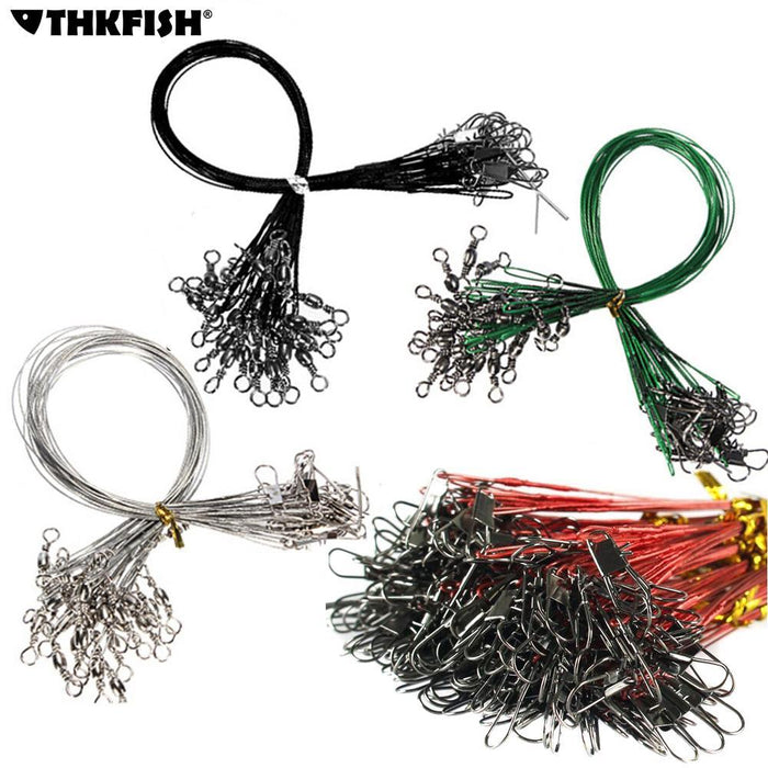 60 Pcs/Set 15Cm 20Cm 25Cm Fishing Line Steel Wire Leader With Swivel Fishing-THKFISH FISHING TACKLE CO.,LTD-red-Bargain Bait Box