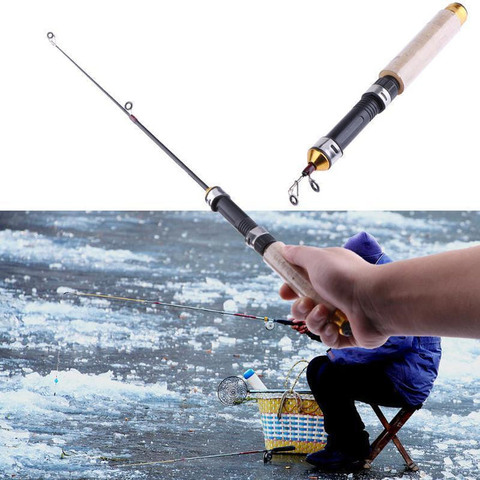 60Cm Portable Pocket Winter Ice Fishing Fish Rod 2 Sections Mini Tackle Spinning-Ice Fishing Rods-Splendidness-Bargain Bait Box