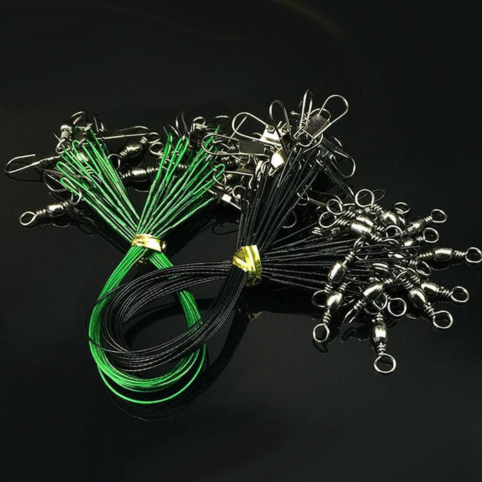 60Pcs/Lot 15/20/25Cm Steel Wire Lead Anti-Bite Fishing Line With Swivel Snap-BAIHUI OUTDOOR Store-Green-Bargain Bait Box