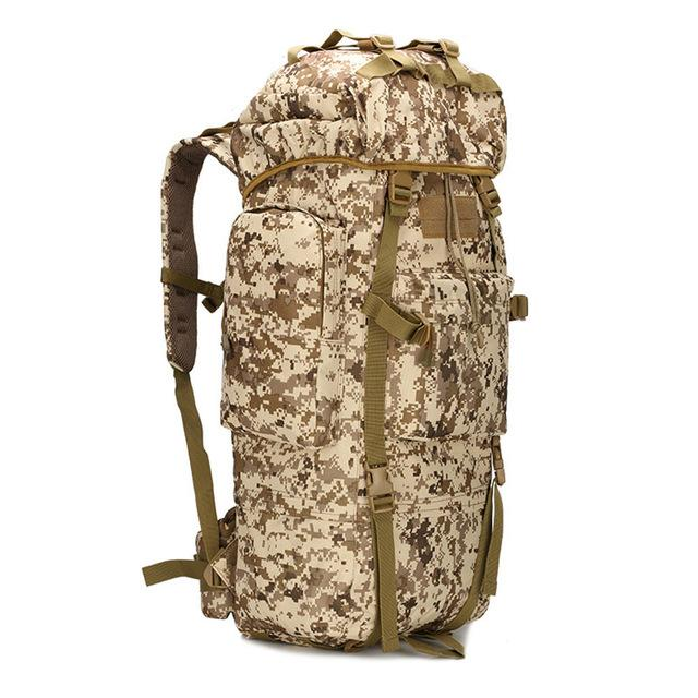 65L Large Capacity Bag Camping Bag Waterproof Cover Camo Backpack Fishing Bag-Backpacks-Bargain Bait Box-Desert Digital-Bargain Bait Box