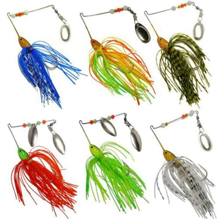 6Pc Fishing Hard Spinner Lure Spinnerbait Bass Like Swimming Actions In Water-Spinnerbaits-Bargain Bait Box-Bargain Bait Box