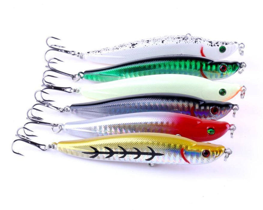 6Pcs 9.5Cm 16G Hard Pencil Lifelike 3D Eyes Sinking Plastic Baits 6 Colors-Lipless Baits-Bargain Bait Box-Bargain Bait Box