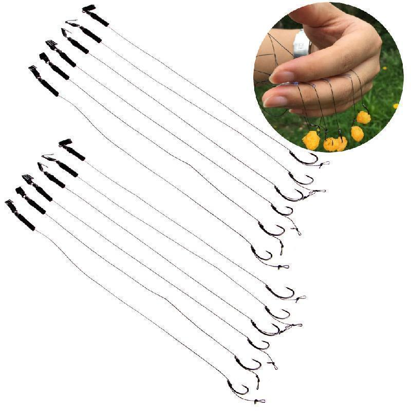 6Pcs Barbless Size 6 8 10 Carp Fishing Hook Tackle Hair Rigs Fishing Accessories-Sexy bus-Curved Hook with Cra-Bargain Bait Box