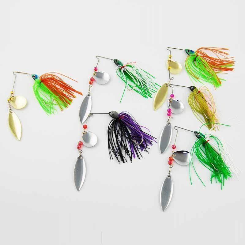 6Pcs Hard Metal Jig Fishing Spoon Spinner Bait With Silicone Skirts Saltwater-Spinnerbaits-Bargain Bait Box-Bargain Bait Box