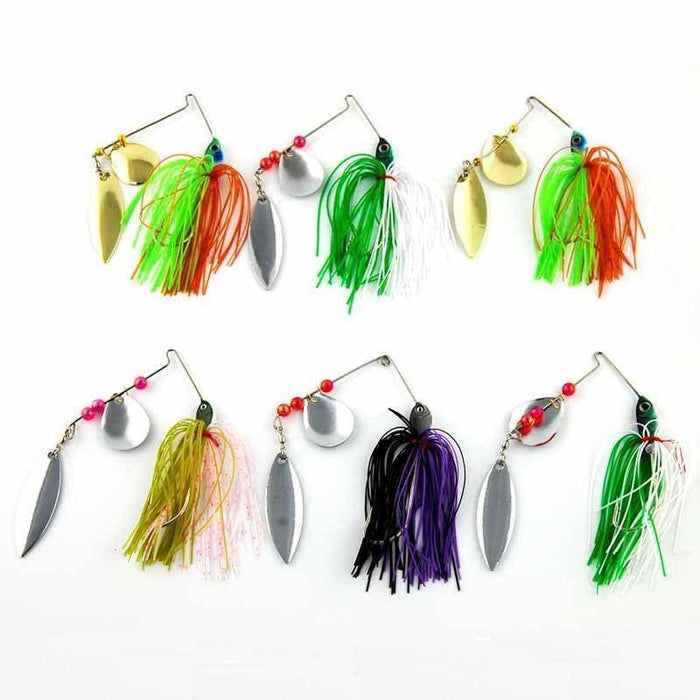 6Pcs Spinner Bait Metal Lure With Silicone Skirts Willow Spinnerbait Bass Jig-Spinnerbaits-Bargain Bait Box-Bargain Bait Box