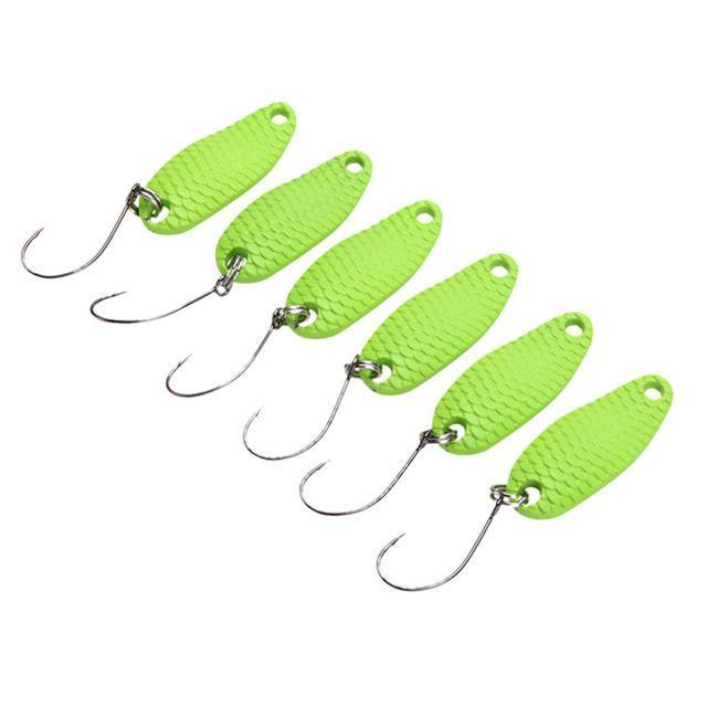 6Pcs/Lot Dragonscale Fishing Lure Spoon 3.5G/3.2Cm Hard Bait Metal Artificial-Silvercell Store-G-Bargain Bait Box