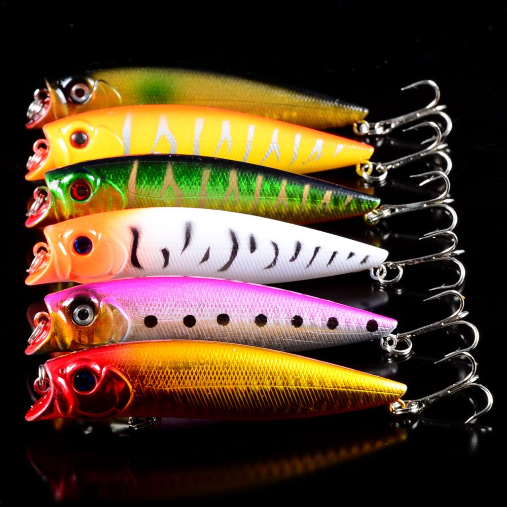 6Pcs/Lot Hard Baits Top Water Popper Lure Make Fishing Tackle 3D Eyes 6# Hooks-Top Water Baits-Bargain Bait Box-Bargain Bait Box