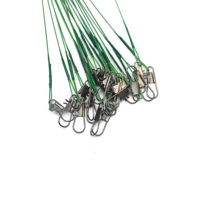 72Pcs Fishing Leader Line Soft Plastic Coated Stainless Steel Wires Ring With-DONQL Store-Green-Bargain Bait Box