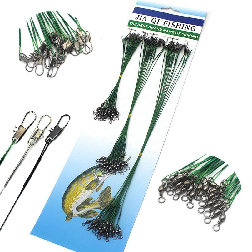 72Pcs Fishing Lines Leader For Wire Leader Line With Spinner Metal Swivel-DONQL Store-Green-Bargain Bait Box