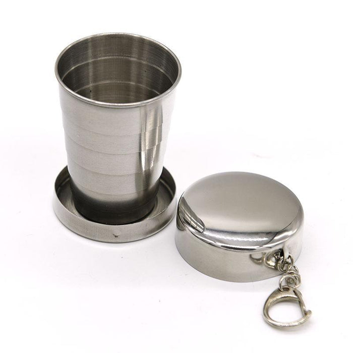 75Ml Stainless Steel Camping Folding Cup Traveling Outdoor Camping Hiking Mug-Sportswear & Outdoor Tools Store-Bargain Bait Box