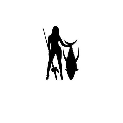 7.6Cm*11.3Cm Girl Fishing Decal Car Eindow Sticker Car Stickers Vimyl S9-0095-Fishing Decals-Bargain Bait Box-Black-Bargain Bait Box