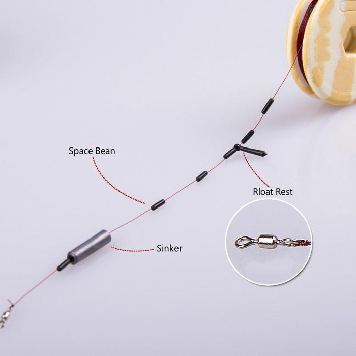 7Pcs/Lot Fishing Terminal Tackle Set Hook Connector Space Bean Sinker Line Kit-Montain High Store-Bargain Bait Box