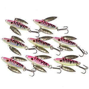 8 Pcs 7G 5Cm Spoon Bait Ice Fishing Jig Fishing Tackle 4 Color Available-Jigging Spoons-Bargain Bait Box-Pink-Bargain Bait Box
