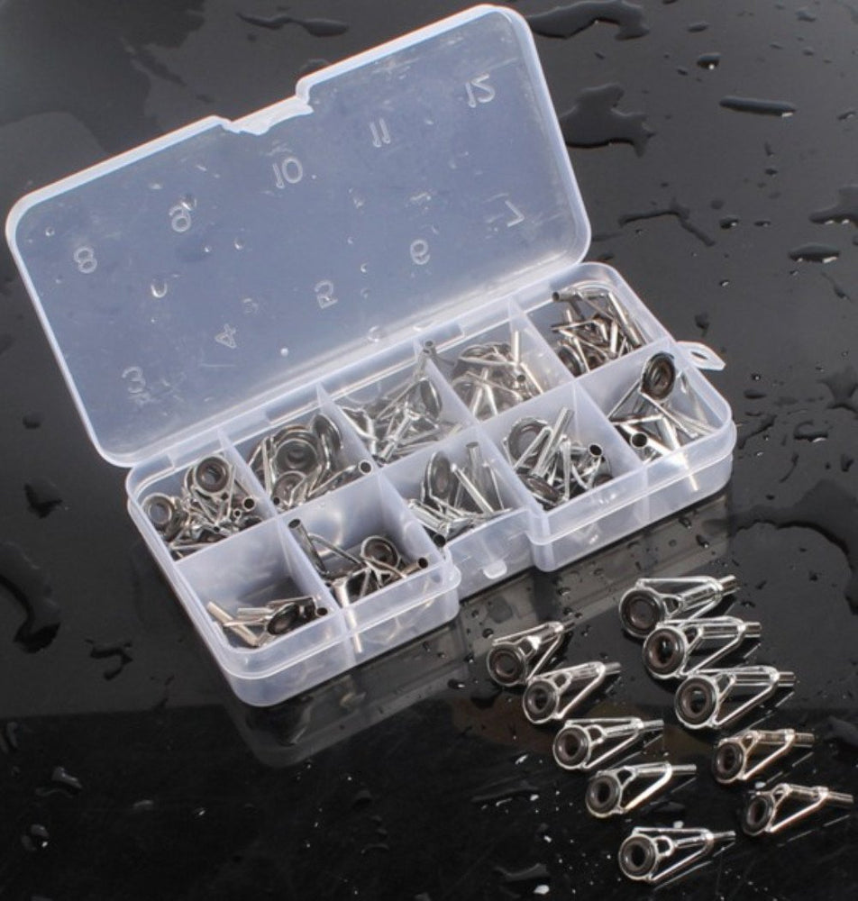 80Pcs/Box Fishing Rod Guide Rod Tip Repair Kit Rod Diy Eye Rings Tools Fishing-Fishing Rod Guides & Tips-Bargain Bait Box-Bargain Bait Box