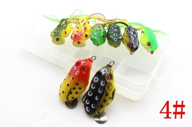 8Pcs 8Colors Topwater Frog And Mouse Hollow Body Soft Fishing Bass Hooks Baits-Soft Bait Kits-Bargain Bait Box-Burgundy-Bargain Bait Box