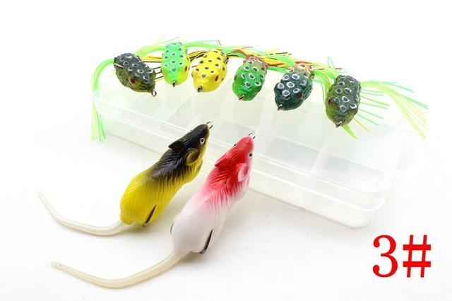 8Pcs 8Colors Topwater Frog And Mouse Hollow Body Soft Fishing Bass Hooks Baits-Soft Bait Kits-Bargain Bait Box-Red-Bargain Bait Box