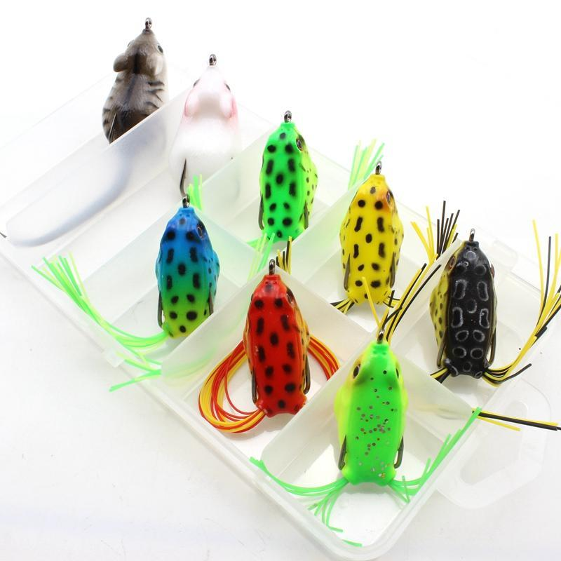 8Pcs 8Colors Topwater Frog And Mouse Hollow Body Soft Fishing Bass Hooks Baits-Soft Bait Kits-Bargain Bait Box-White-Bargain Bait Box