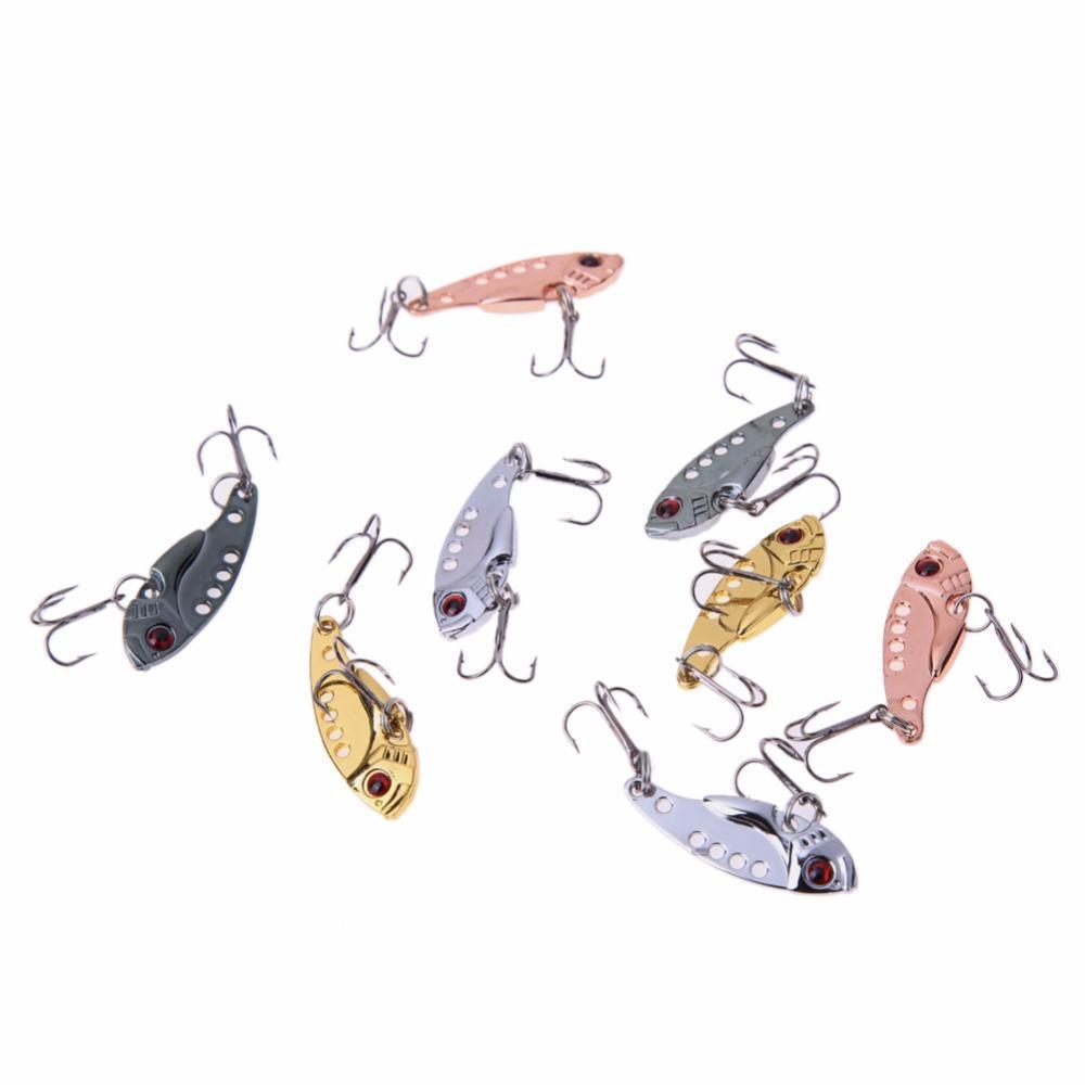 8Pcs/Lot 3.5Cm Steel Vib Fishing Lures Bass 10# Spoon Crank Hard Bait Fishing-fixcooperate-Bargain Bait Box