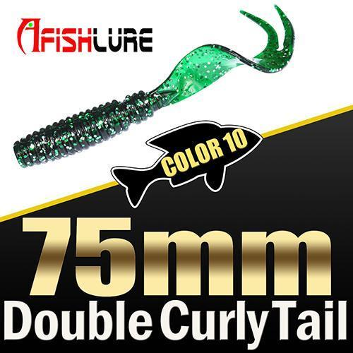 8Pcs/Lot Afishlure Forked Tail Soft Worm 75Mm 3.3G Double Curly Tail Fishing-Trailers-Bargain Bait Box-COLOR10-Bargain Bait Box