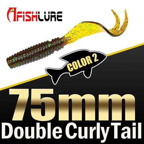 8Pcs/Lot Afishlure Forked Tail Soft Worm 75Mm 3.3G Double Curly Tail Fishing-Trailers-Bargain Bait Box-COLOR2-Bargain Bait Box