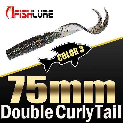 8Pcs/Lot Afishlure Forked Tail Soft Worm 75Mm 3.3G Double Curly Tail Fishing-Trailers-Bargain Bait Box-COLOR3-Bargain Bait Box
