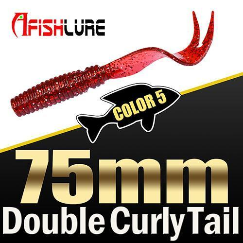 8Pcs/Lot Afishlure Forked Tail Soft Worm 75Mm 3.3G Double Curly Tail Fishing-Trailers-Bargain Bait Box-COLOR5-Bargain Bait Box