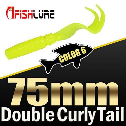 8Pcs/Lot Afishlure Forked Tail Soft Worm 75Mm 3.3G Double Curly Tail Fishing-Trailers-Bargain Bait Box-COLOR6-Bargain Bait Box