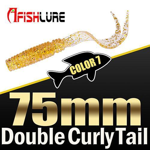 8Pcs/Lot Afishlure Forked Tail Soft Worm 75Mm 3.3G Double Curly Tail Fishing-Trailers-Bargain Bait Box-COLOR7-Bargain Bait Box