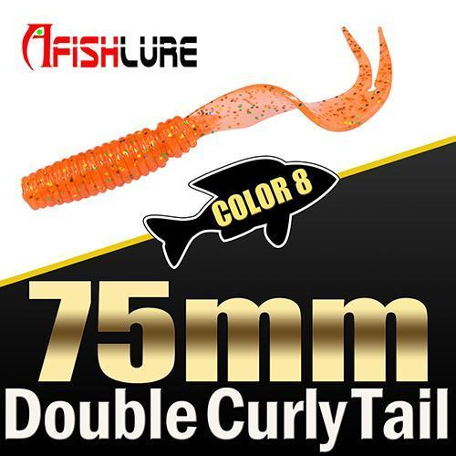 8Pcs/Lot Afishlure Forked Tail Soft Worm 75Mm 3.3G Double Curly Tail Fishing-Trailers-Bargain Bait Box-COLOR8-Bargain Bait Box