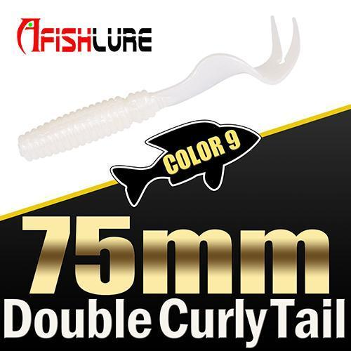 8Pcs/Lot Afishlure Forked Tail Soft Worm 75Mm 3.3G Double Curly Tail Fishing-Trailers-Bargain Bait Box-COLOR9-Bargain Bait Box