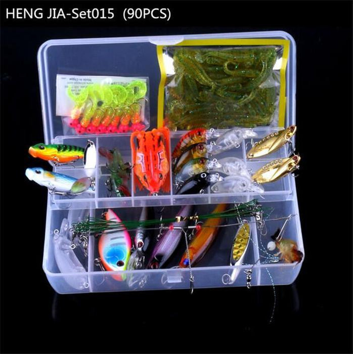 90Pcs In One Box Fishing Set Box Kit Plastic Minnow Crank Metal Vib Soft-Mixed Combos & Kits-Bargain Bait Box-Bargain Bait Box