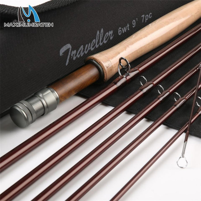 9Ft 6Wt 7Pcs Half-Well Fast Action Carbon Fiber Fly Rod With Cordura Tube Er Fly-Fly Fishing Rods-Bargain Bait Box-Bargain Bait Box