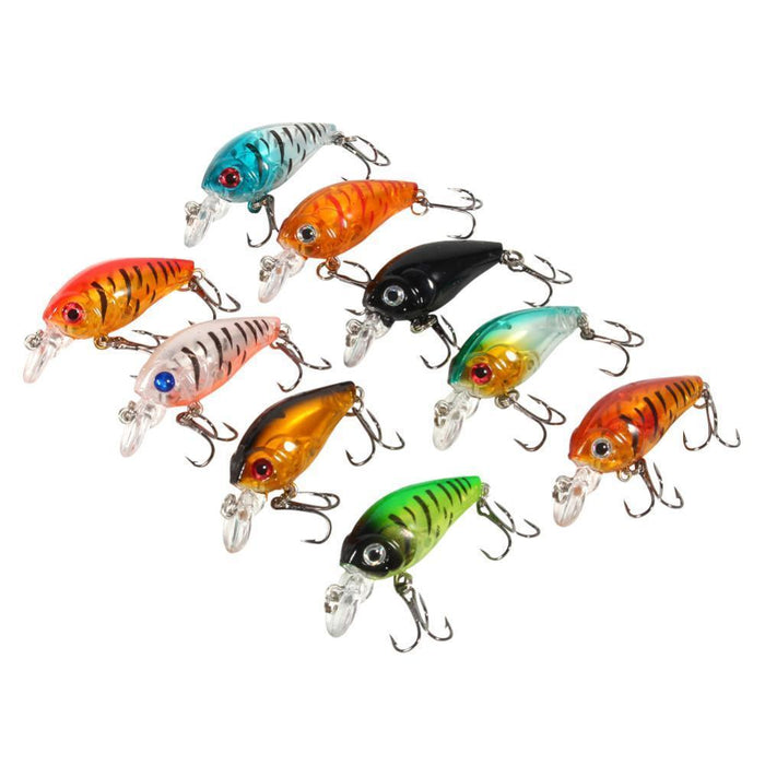 9Pcs Plastic Set Of Fishing Lures Bass China Crankbait Hard Crank Bait Deep-Easy-shopping store-Bargain Bait Box
