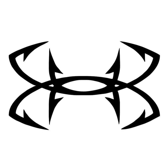 Abstract Fish Hook Cross Flag Happy Life Fishing Car Sticker For Motorhome-Fishing Decals-Bargain Bait Box-Black-Bargain Bait Box
