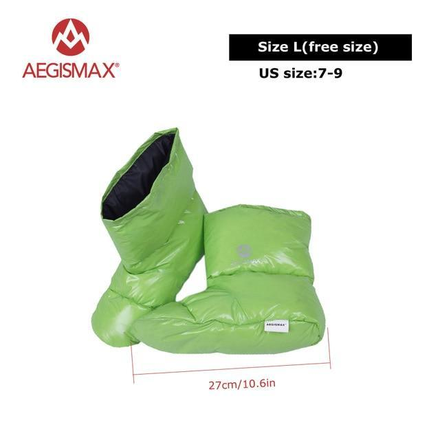 Aegismax Duck Down Slippers Shoes Bootees Boots Footwear Camping Feet Cover Warm-Sleeping Bags-YOUGLE store-L Green-Bargain Bait Box