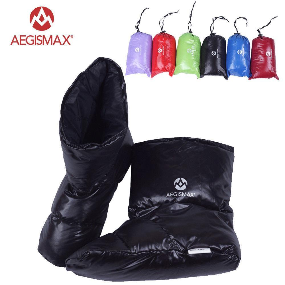 Aegismax Duck Down Slippers Shoes Bootees Boots Footwear Camping Feet Cover Warm-Sleeping Bags-YOUGLE store-M Blue-Bargain Bait Box