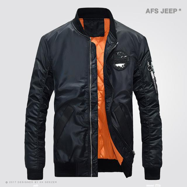 Afs Jeep Jacket Men Coat Light Jacket Comfort Bomber Outwear Camp Green Black-Jackets-Bargain Bait Box-Black-M-Bargain Bait Box