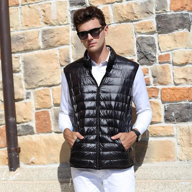 Airgracias Men'S Vest Warm Ultralight Down S Vests Men Solid Thin Vest Male-Vests-Bargain Bait Box-Black-S-Bargain Bait Box
