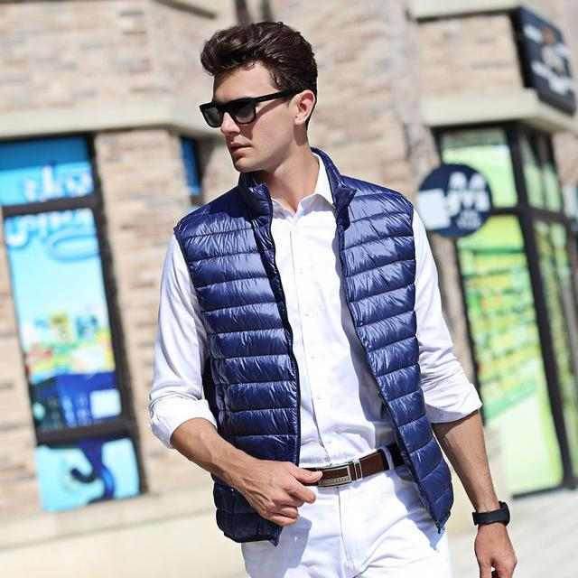 Airgracias Men'S Vest Warm Ultralight Down S Vests Men Solid Thin Vest Male-Vests-Bargain Bait Box-Navy Blue-S-Bargain Bait Box