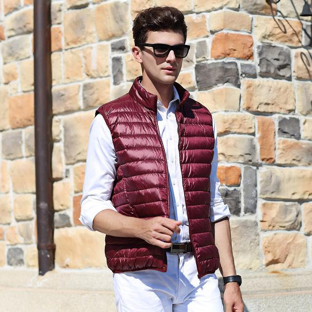 Airgracias Men'S Vest Warm Ultralight Down S Vests Men Solid Thin Vest Male-Vests-Bargain Bait Box-Wine Red-S-Bargain Bait Box