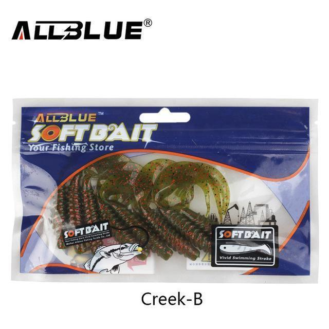 Allblue Creek Single Tail Soft Bait 3.2G/82Mm 8Pcs/Lot Biforked Grubs Silicone-allblue Official Store-Color B-Bargain Bait Box