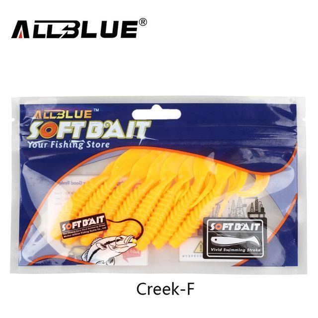 Allblue Creek Single Tail Soft Bait 3.2G/82Mm 8Pcs/Lot Biforked Grubs Silicone-allblue Official Store-Color F-Bargain Bait Box