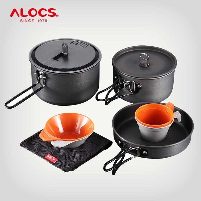 Alocs Outdoor Aluminum Folding Cooking Set Camping Cookware Pot Frying Pan-Outdoor Tablewares-YOUGLE store-CW-C27-Bargain Bait Box