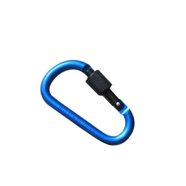 Aluminum Alloy D Shape Carabiner Screw Lock Bottle Hook Buckle Hanging Padlock-Silvercell Store-Dark blue-Bargain Bait Box