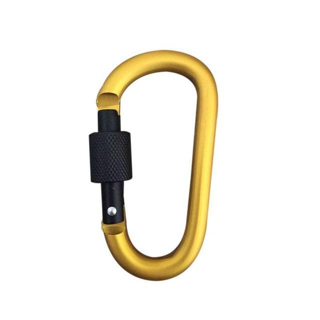 Aluminum Alloy D Shape Carabiner Screw Lock Bottle Hook Buckle Hanging Padlock-Silvercell Store-Yellow-Bargain Bait Box