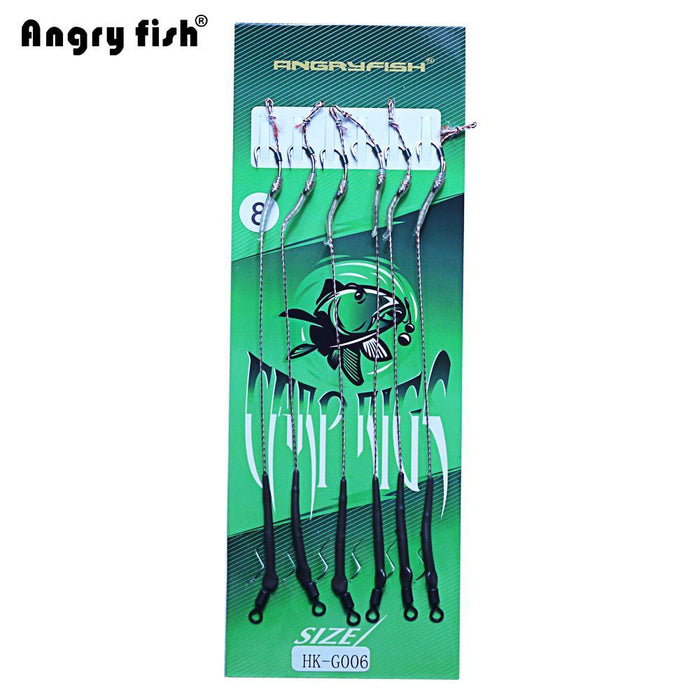 Angryfish Hot 1Pack 6Pcs Carp Fishing Hook Link Coated Hook Link Ready Tied-angryfish Store-1.0-Bargain Bait Box