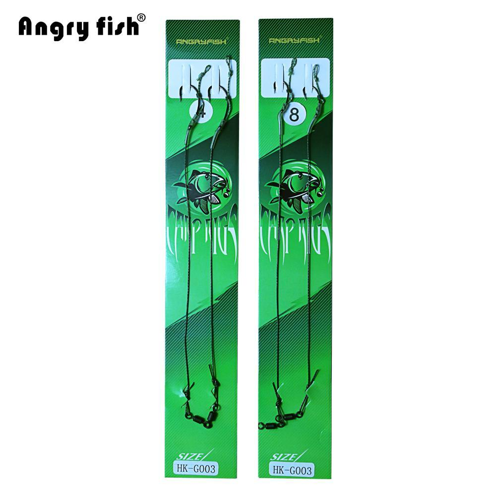 Angryfish Hot 5Pack 2Pcs Carp Fishing Line Hook Link Coated Hook Link Ready Tied-angryfish Store-1.0-Bargain Bait Box