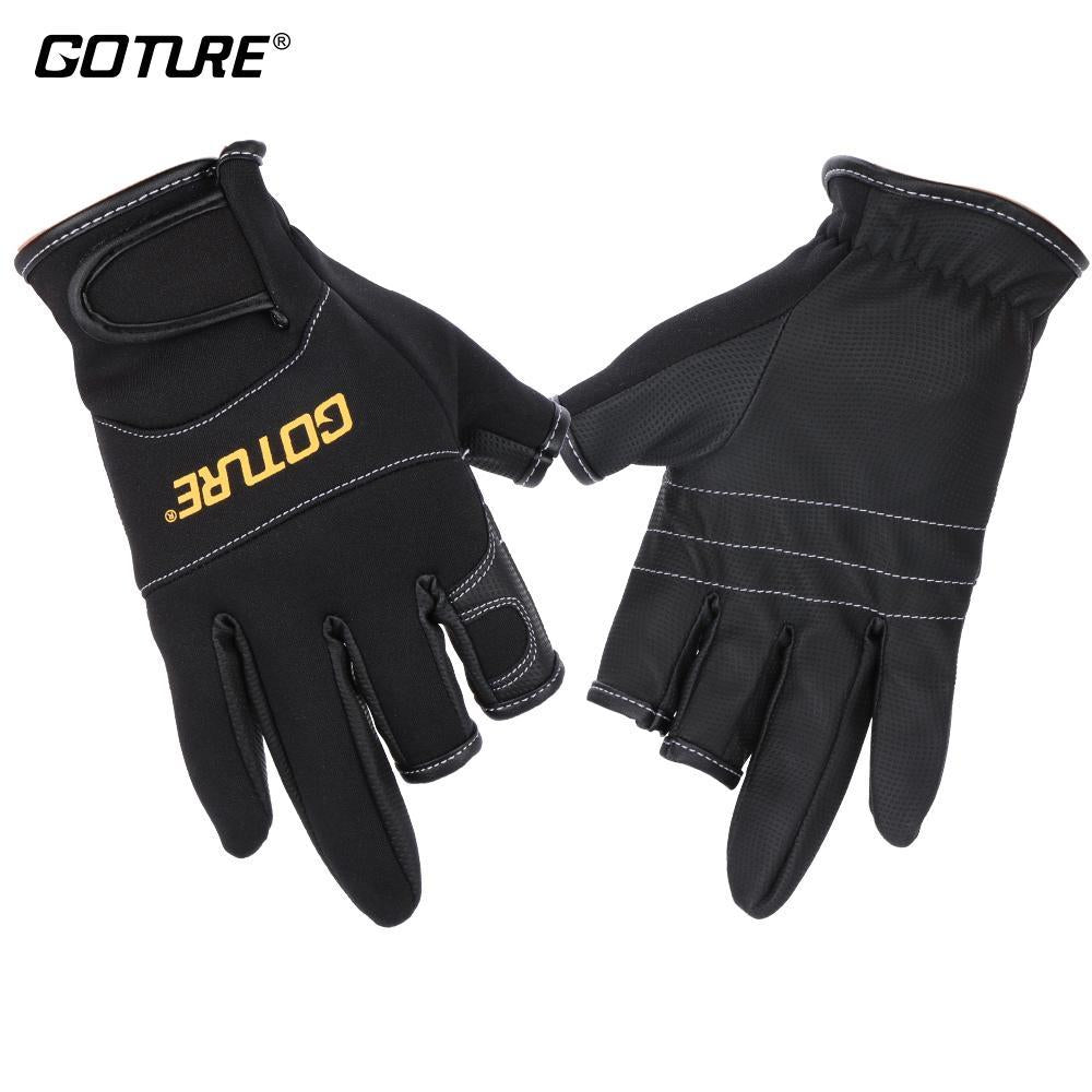 Anti Slip Fish Fishing Gloves 3 Three Low Cut Fingers Water-Proof Lure Gloves-Gloves-Bargain Bait Box-L-Bargain Bait Box