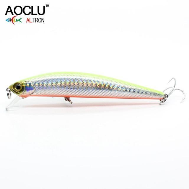 Aoclu Wobblers Super Quality 5 Colors 11Cm 23G Hard Bait Minnow Crank Fishing-AOCLU -Fishing Store-Yellow CH110-Bargain Bait Box