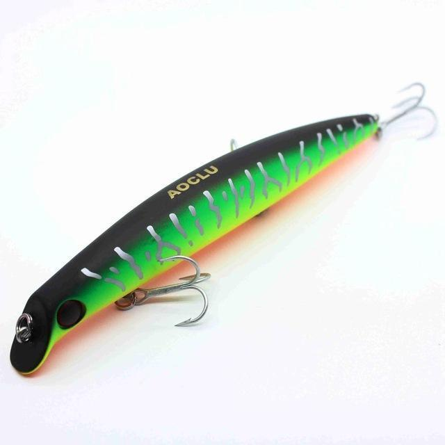 Aoclu Wobblers Super Quality 5 Colors 12Cm 13.8G Hard Bait Minnow Crank-AOCLU -Fishing Store-Green Tiger BB120-Bargain Bait Box